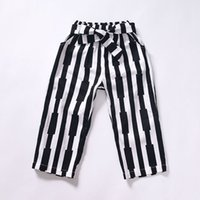 Wholesale Hot sale Baby Girls Spring and Autumn Trousers New Style Hot Sale Striped All match Children Capri Pants