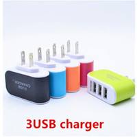 Wholesale 3 USB Wall Chargers V A LED Adapter Travel Convenient Power Adaptor with triple USB Ports for mobile phone