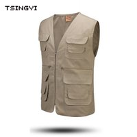 Wholesale Fall Casual mens double breasted vest Zipper Pocket Fly Vest Outdoor Chalecos Hombre Cotton V Neck Sleeveless Coats Men Vests
