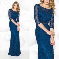 Wholesale 2016 Sleeves Navy Blue gowns for mother bride special occasion for women Lace evening dressess mother of the bride plus size QW801