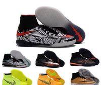 Wholesale Men s Elastico Superfly IC Indoor Soccer Shoes Superflys TF Soccer Boots Cleats Hypervenomx Laser Men shoe botas futbol youth Football Shoes