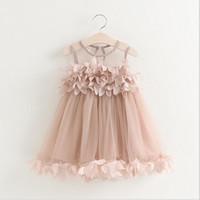american mesh - 2016 Kids Girls Lace D Flower Dresses Baby Girl Princess tutu Dress Girl Summer Mesh Party Dress Babies Clothing