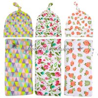 Wholesale Fedex DHL Free Newborn Blanket Infant Baby Flower Swaddle Wrap Blanket baby Blanket Towels With Baby beanie Outfit Photogragh props Z514