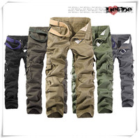 Wholesale Hot fashion Men s Cargo Pants Casual Mens Pant Multi Pocket Military Overall Men Outdoors Cheap Long Trousers Plus size Working Sport