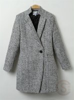Wholesale 2016 New Elegant Women Winter Wool Coats Plus Size Grey Warm Cotton Trench Laides Velvet Thick Jacket Long Outdoor Overcoat