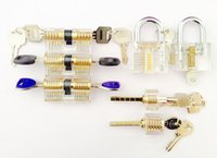 Wholesale HOT SALE used locksmith tools Clear Acrylic pieces transparent padlock for lock picking practice closed and with the key inserted