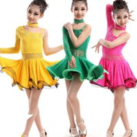 Wholesale Kids Ballroom Competition dancing dress Latin Dance Dress for Girls Dancewear Costumes Kids Waltz Flamenco dance Skirt