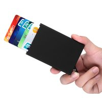 automatic business card holder - Automatic Pop Up Click Slide Card Holder Thin Metal RFID Card Protector Cases Slim aluminium Credit Card Holder Wallet