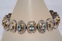 aquamarine diamond bracelet - 33 Ct Natural Aquamarine Diamond Bracelet K Tone