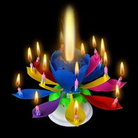 Wholesale Retail Party Supplies Cake Toppers Musical Lotus Romantic Flower Rotating Happy Birthday Party Gift Candle Light
