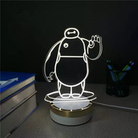 acrylic keyboard - New creative Acrylic D Illusion Baymax Lamp LED Night Light Table Desk Lamp Home decoration lights