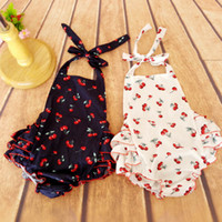 american breads - 2016 New years baby Cherry printed ruffled Rompers Euopean and american style bread pants rompers