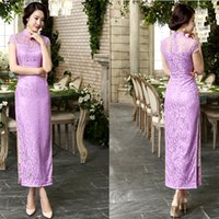 Wholesale Luxury Long Cheongsams Qipao sexy Lace Dress slender figure slim Chinese Traditional Dress short sleeve long dresses