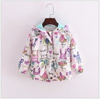 baby full month - Retail New Autumn Cute Baby Girl Coat Animals Printing Cartoon Graffiti Hooded Zipper Girls Jacket Long Sleeve Toddler Girl Outwear