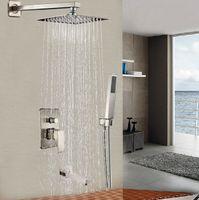bath lighting brushed nickel - 16 quot Ultrathin Shower Head Bathroom Shower Mixer Faucet Bath Shower Tap with Handheld Shower Brushed Nickel Finish