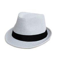 Wholesale Unisex Women Men Casual Trendy Beach Sun Straw Panama Jazz Hat Cowboy Fedora Gangster Cap