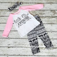 band pants - Ins children autumn clothing sets european style girl long sleeve t shirt long pants head band three piece sets kids clothes suits
