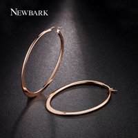 basket ball wifes - NEWBARK k Rose Gold Plated Huge Oval Hoop Earrings Basket Ball Wives Earring Jewelry For Valentine s Day Party
