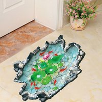 bathroom vinyl flooring - Fish pond lotus wall stickers bathroom personalized fashion decorative painting waterproof floor for home Christmas decoration