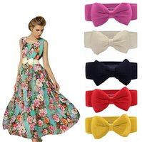 Wholesale 2016 Fashion Hot Sweet Women Bowknot Cummerbund Elastic Bow Wide Stretch Buckle Waistband Waist Belt Colors