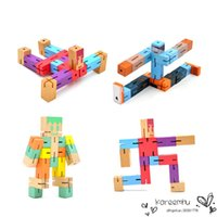 Wholesale 2016 Wooden Toys Wooden Robot Cube Wood Assembling Puzzle Brain Teaser Toys for Aldults Children Kids Unlocking Model Colorful Magic Toy