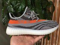 al por mayor calzado deportivo de color naranja-SPLY 350 zapatos al aire libre auténticos gris / naranja raya negra con raya blanca de los zapatos Hombres Mujeres zapatillas de deporte de los zapatos corrientes del envío de la gota