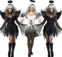 angels ghosts - 2016 Vampire Zombie Cosplay White Black Ghost Bride Angel Cosplay Dress Costumes Witch Dress and Wing Set Halloween Costumes For Women