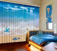beach window curtains - fashion curtains for home d window curtain Blue Sea Beach Starfish cotton window curtains fashion window curtains