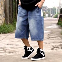 baggy jeans shorts - New summer short jeans man loose zipper denim shorts mens baggy hip hop jeans Plus Size