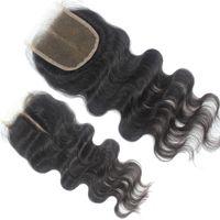 Wholesale Unprocessed human hair lace closure middle free part quot x quot quot X4 quot quot X5 quot cheap brazilian body wave Top closures