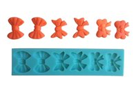 Wholesale 1PCS Cute Bow Shaped Chocolate Candy Jello D Mold Mould Cartoon Figre Cake Tools