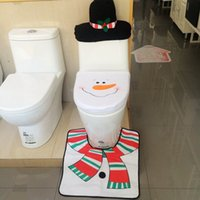 bathroom tissues - Christmas Decorations Snowman Toilet Seat Cover and Rug Tissue Box Cover Bathroom Set Home Decoration