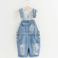 Cheap Children Suspender Thouser Korean Girl Dress Ripped Jeans Suspenders 2016 Summer Denim Shorts Child Clothes Kids Clothing Lovekiss C24019