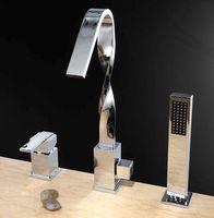 bathtub faucet handheld - Deck Mount Waterfall Brass Bathtub Tub Shower Faucet Three Handles with Handheld Tub Mixer Taps Chrome Finish