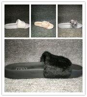 Wholesale RIHANNA LEADCAT FENTY Slippers slides Indoor Sandals Women sandals slide Black Pink White Size