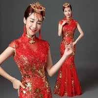 Wholesale Classical Red Chinese - Luxury Chinese Qipao Cheongsam Dresses Red Long Sequins Lace Chinese Evening Gown Classical Bridal Dress Free Shipping (YYF-002)