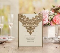 Wholesale 2016 Customized Wedding invitations cards laser cut Gold Invitations Cards Engagement Invitation Wedding Supplies