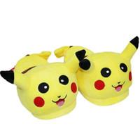 Wholesale Warm Pikachu Plush Slippers Shoes Poke Mon Soft Warm Household Slipper Men Women Cartoon Animal Indoor Slippers PPA114