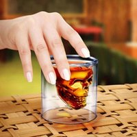 Wholesale 2016 new Doomed Crystal Skull Head Vodka Shot Glass Cup Beer Wine Whisky Drinking Cup Ware for Home Bar Party