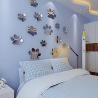 New Footprints 3D mur autocollants enfants chambre décorative Miroir de cristal mur décalque fond de plafond décoration murale