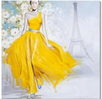 abstract floral dress - Hot sales handpainted oil painting fashion lady in yellow dress Painting Art on canvas