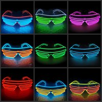 Wholesale Simple el glasses El Wire Fashion Neon LED Light Glow Sun Glasses Rave Costume Party DJ Bright SunGlasses