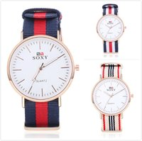 big colorful watches - Nylon Canvas Wristwatch Watch Mens Womens Female Male Couple Colorful Stripe Big Dial Quartz Simple Fashion Wrist Watches SOXY Brand
