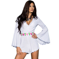 bell trim - Summer Women Jumpsuits Long Sleeve V Neck White Pink Bell Sleeve Scalloped Lace Panelled Trim Belted Playsuit