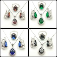 Wholesale Drop Water Red Emerald Blue Black White Topaz Sterling Silver Jewelry Sets For Women Necklace Earrings Rings Free Jewelry Box