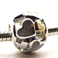 2016 del corazón del oro de 14K y madre de la perla 100% 925 joyería de plata esterlina Fit Pandora Bead manera de la pulsera del encanto de DIY Marca