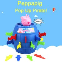 Wholesale Zorn Pop Up Pirate Peppa Pink Pig toys cartoon Plastic doll Insert Sword game board game PagePig for the children Christmas Gifts