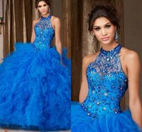 Wholesale 2016 Halter Beads Crystals Quinceanera Dresses Ruffled Organza Ball Gowns Girls Prom Party Dresses Sweetheart Vestidos Sweet Party Gowns