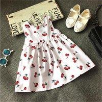 american cherry - Hot Sale Girls White Cherry Print Sleeveless Dress Kids O neck Cotton Top Dress with Ribbon Bow Children Summer Casual Dress Free Ship
