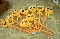 ball point pens - Yellow Plush Top Emoji Face Pens Emotion plush ball point pen new design Emoji Ballpoint Pens Cute Plush Pen Toy for Kids